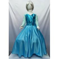 Elsa Vestido Disfraz Tipo Elsa Princesa Frozen Con Corona