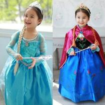 Lote Disfraz Frozen Princesa Elsa Y Anna Vestido Niña Disney