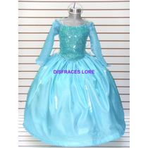 Disfraz Vestido Elsa Frozen Princesa Bella Merida Cenicienta