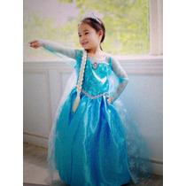 Disfraz Elsa Frozen Con Peluca 100% Original Capa Y Corona