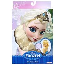 Peluca Y Tiara Elsa Frozen Disney Trenza Princesas Hm4