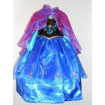 Vestido Disfraz Lujo Princesa Ana Frozen Capa Incluida