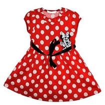 Niñas Red Dot Polker Minnie Mouse Vestido De Falda 1-5y