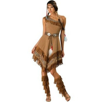 Disfraz De Indigena, India, Nativa, Apache, Pocahontas Damas