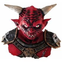 Máscara De Latex Diablo Halloween Disfraz Cuernos