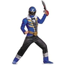 Disfraz De Power Ranger Super Megaforce Azul Para Niños