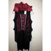 Disfraz Vampira Sexy Viuda Negra Niña Talla 10/12 Halloween