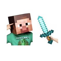 Disfraz Steve Minecraft Hombre Halloween Cabeza Y Espada