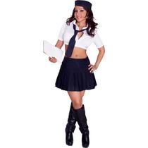 Disfraz Sexy Para Dama Colegiala Top Falda Boina Corbata