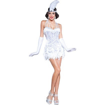 Disfraz Mujer Silver Flapper Sexy Halloween Adulto