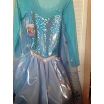 Vestido Elsa Frozen Con Capa De Hielo, Peluca Y Corona 640