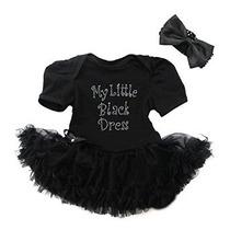 Bebé Rhinestone Mi Pequeño Negro Vestido Body Pettiskirt Dia