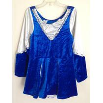 Disfraz Halloween Porrista Azul Con Blanco T 6-8 Años