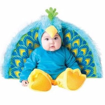 Traje Disfraz Bebe Pequeña Pavo Real Halloween Niño Niña