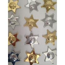 Estrella Sheriff Plastico Distintivo Policia Seguridad Oro