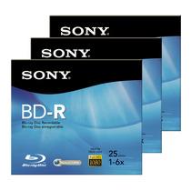 3 Discos Blu Ray Sony 25gb Bd-r Bnr25r3h
