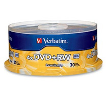 Verbatim Dvd+rw 4.7gb 4x Branded 30pk Spindle