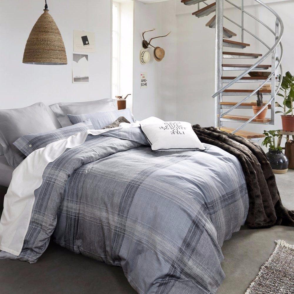 Edredon para cama queen ufo home 3 pzas gris palido for Tipos de camas queen