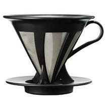 Hario Paperless Café Dripper Negro Inoxidable Filtro De Acer