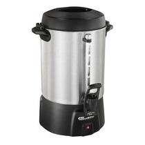 Cafetera Grande Para 60 Tazas - Aluminio Pulido/negro