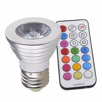 Foco Luz Led 3w 16 Colores Con Control Remoto A Rosca A 110v