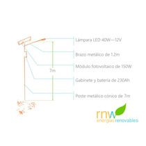 Poste Solar Con Lámpara Led De 40w, 10 A 12 Hrs Rnwnic40w12v