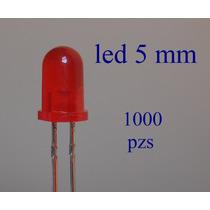 1000 Pzs Led Rojo De 5 Mm Microcontroladores