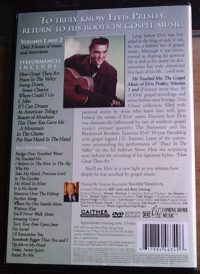 Elvis Presley He Touched Me The Gospel Music 2 Dvds Op4 - $ 499.99 ...