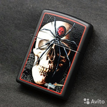 Encendedor Zippo Skull Spider Mazzi + Regalo Piedra O Mecha