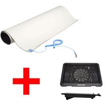 Kit Tapete Antiestatico Pvc 60 Cm + Ventilador Laptop Base