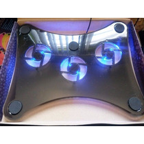 Base Enfriadora Laptop Con 3 Ventiladores Luz De Neon