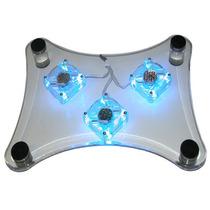 Cool Pad / Enfriador Laptop 3 Ventiladores Acrilico Luz Neon