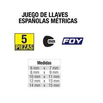 Juego De 5 Llaves Españolas Métricas Foy Em5 Hm4