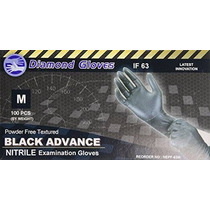 Guantes De Diamante Negro Avance De Nitrilo Sin Polvo Examen