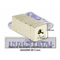 Iman Neodimio 20x20x10 Mm Con Barreno 5mm N35,12000 Gauss