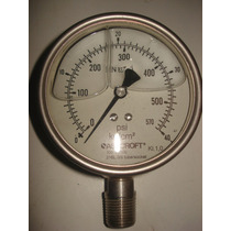 Manometro De 0 - 40 Kg/cm2 Carat 4 Ashcroft Con Glicerina