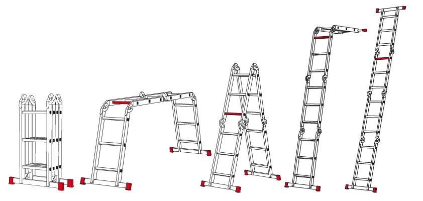 Escalera plegable de aluminio 8 posiciones plegable 3 for Escalera aluminio plegable articulada precio