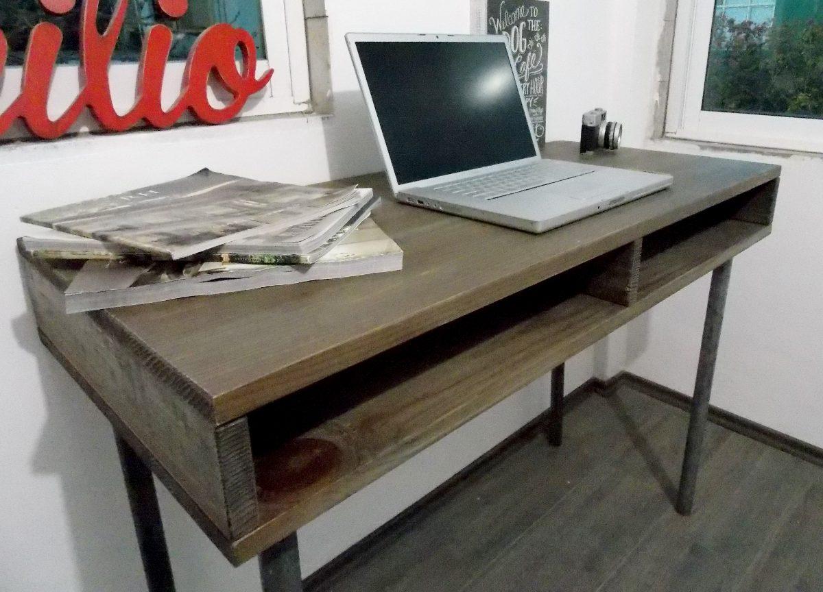 escritorio industrial vintage mesa de madera tubo