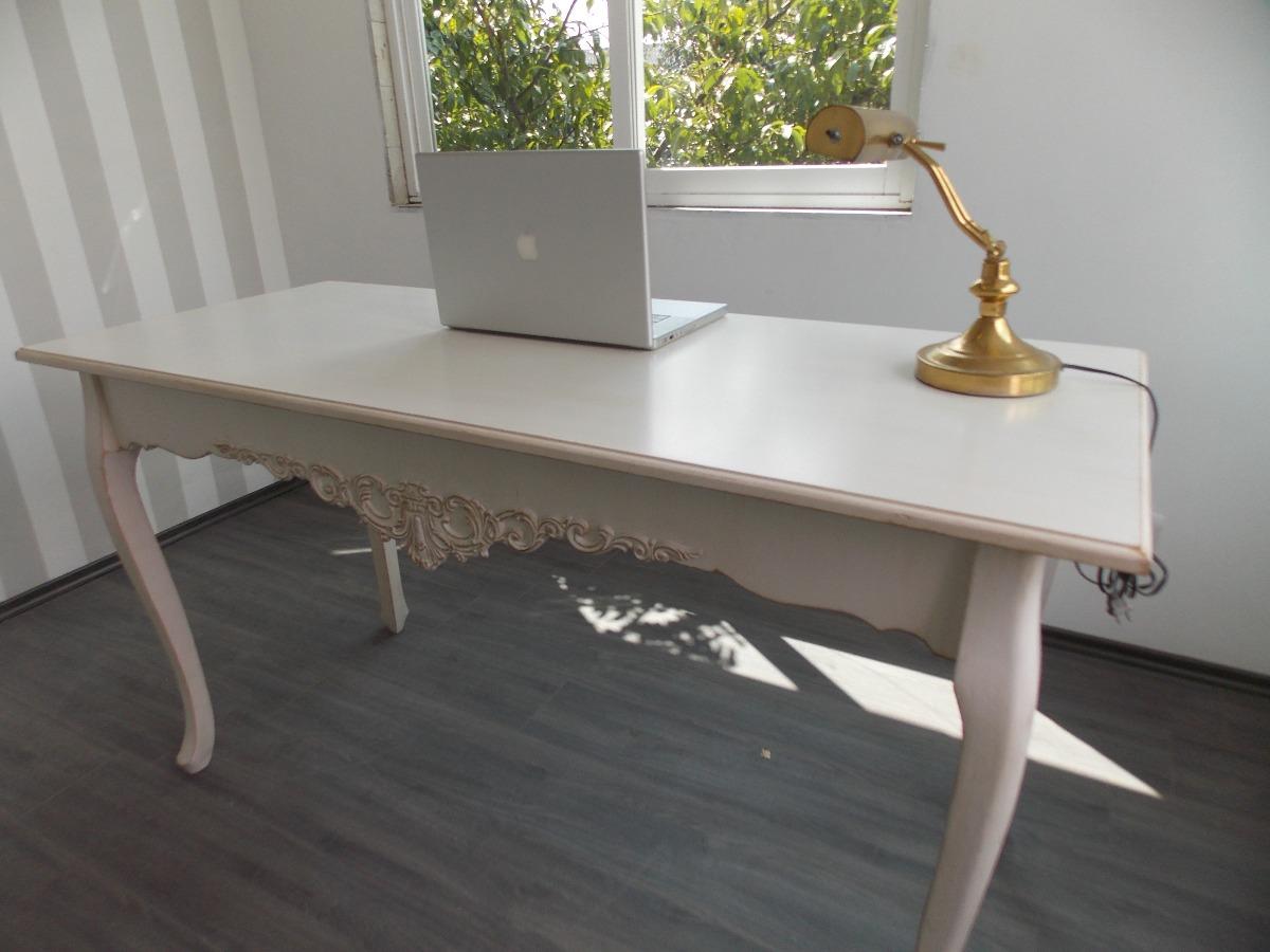 Escritorio Mueble Vintage, Mesa Blanco Antiguo Decapado - $ 5,600.00 en Merca...