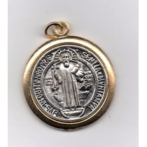 Medalla San Benito Italiana En Chapa De Oro Vs Brujerias