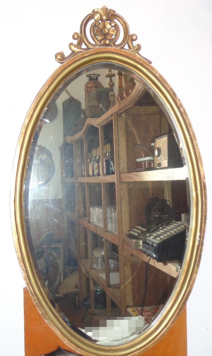 Espejo antiguo biselado ovalo madera 6 en for Espejo laringeo 00