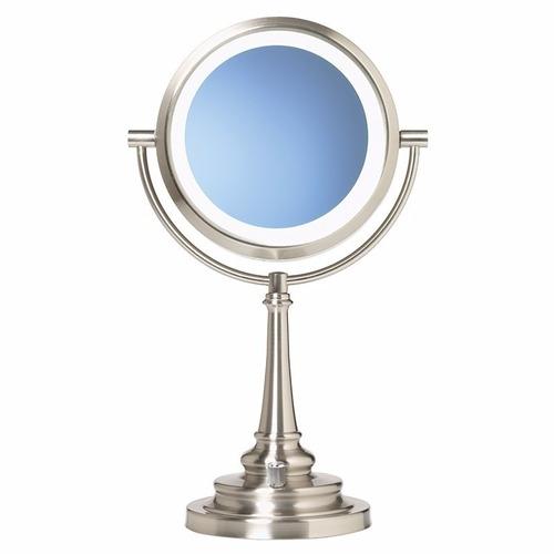 Espejo doble con luz luz natural 1x y lupa 10x de aumento for Espejo aumento con luz