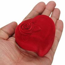 Estuche De Flor Y Corazón Para Anillo Compromiso Regalo