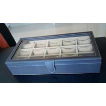 Caja Relojero Premium Con Vidrio 15 Relojes