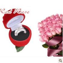 Estuche Joyeria Rosa, Flor, Regalo, Caja, Arete Anillo, Dije