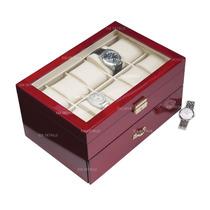 Caja - Estuche De Madera Para 20 Relojes Con Tapa De Cristal