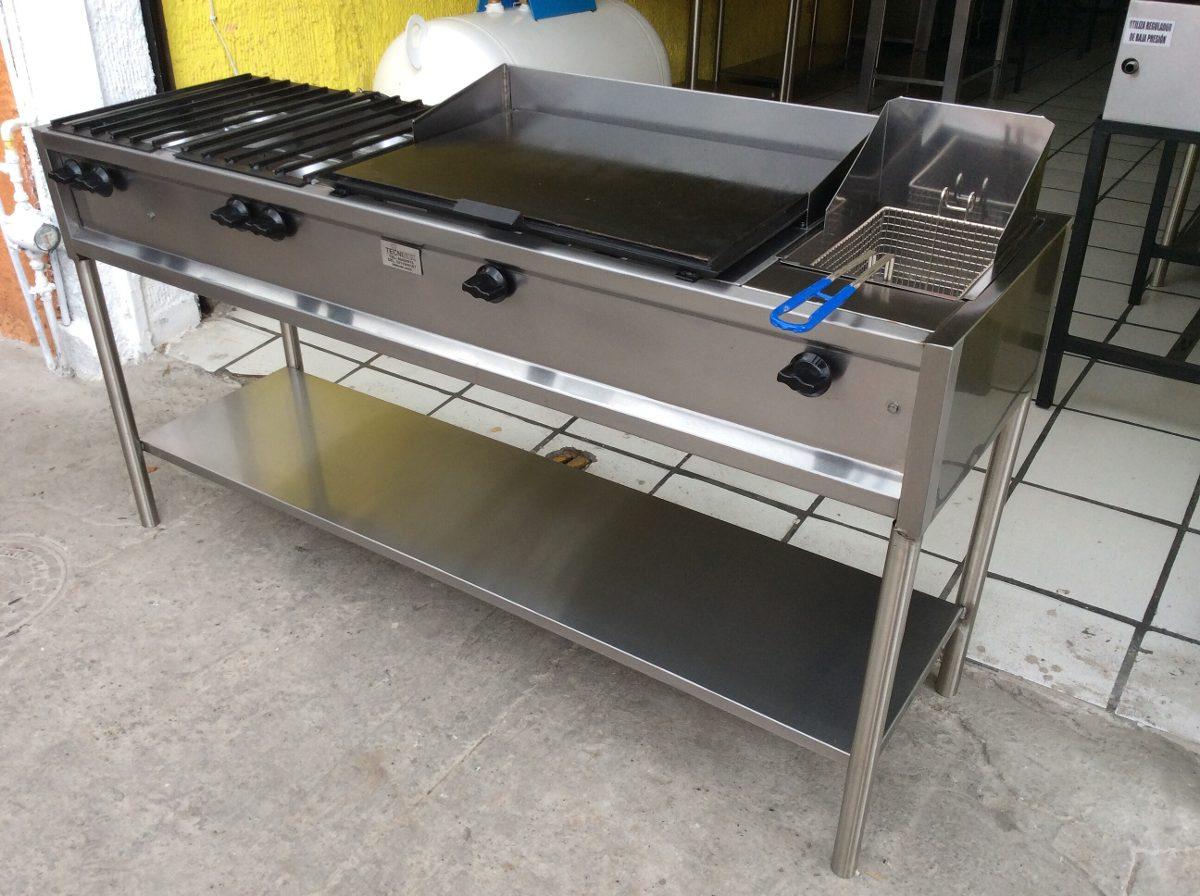 Estufa industrial con 4 hornillas plancha y freidora for Estufa industrial precio