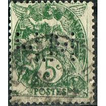1691 Francia Perfín Angel Querubin 5c Usado 1900-29