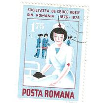 Estampilla Usada Rumania Enfermera Cruz Roja