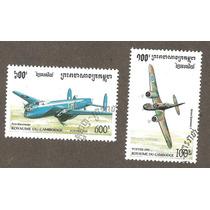 Estampillas De Aviones Camboya 1995